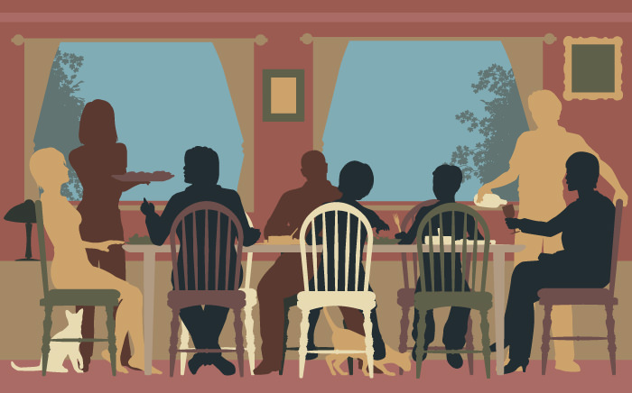 silhouettes of people at dinner table represent our family programs