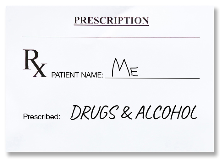 prescription pad for drugs and alcohol represents self-medicating which often necessitates mental health programs