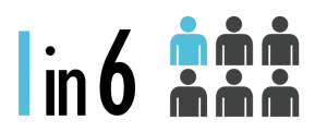 illustration showing 6 generic male figures with 1 of the 6 highlighted in blue