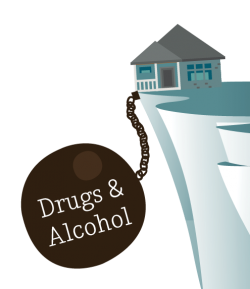 The Impact Of Substance Abuse And Addiction On Families  Behavioral  Illustration Of A Family Home With A Large Weighted Iron Ball And Chain  Attached To It Alcoholism And Drug Addiction